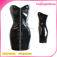 Hot selling women hot selling zipper front black pvc clothing leather bodycon dress dresses