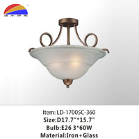 3 lights iron glass ceiling and pendant light for home hotel restaurant decoration