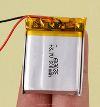 LP603035 3.7v 600mah 603035 li-ion polymer battery 3.7v li-polymer cell 600mAh