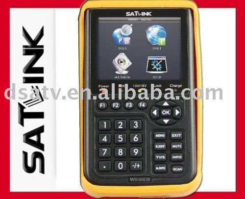 Satlink ws 6909 dvb-s dvb-t combo digital satellite finder meter ws 6909