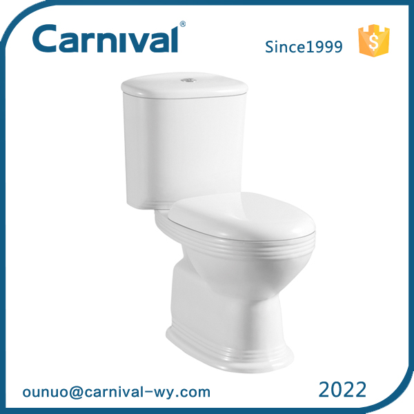 China 2016 new products lavatory Fine stripes two piece toilet bowl 2022