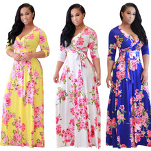 FS1100A 2018 New Fashion African Women Clothes Long Floral Printed Dress