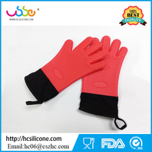 Silicone BBQ Gloves Insulated Kitchen Tool Heat Resistant Glove Oven Pot Holder BBQ Baking five finger gloves