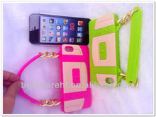 Portable Silicone Soft Gel Tote Handbag Chain Phone bag /Case Cover