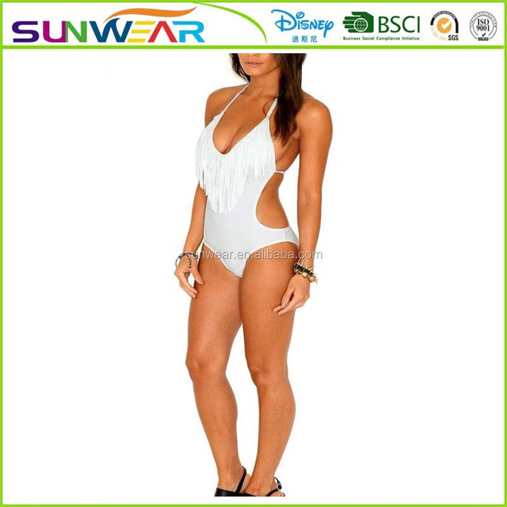 New arrivals Sexy Padded One Piece Bikini Fringed Swimsuit Swimwear Monokini