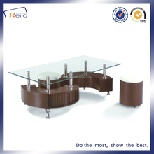 S shape glass coffee table mdf with paper surface