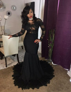 2018 Sexy Black Mermaid Prom Dress Long Sleeves Lace South African Party Formal Dress Evening Wears