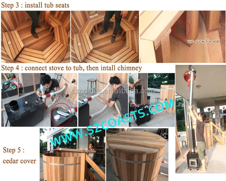 Outdoor red cedar wood one person hot tub with wood fired stove
