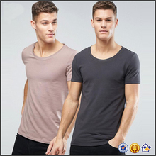 wholeslae 2017 New Stretch jersey Slim-cut sleeves Scoop neck tee custom design Muscle men tight blank cotton t shirt