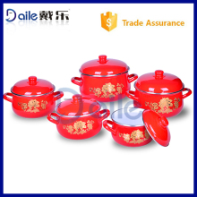 Golden flower decal kitchen cookware set/microwave casserole sets/enamelware cookware set
