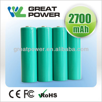 High Discharge Rate 1.2V AA 2700mAh NiMH Rechargeable Flashlight Battery, Electric Toy Battery, Vacuum Cleaner battery cell