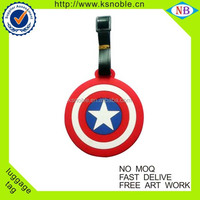 Hot sale Captain America souvenir travel custom pvc luggage tag
