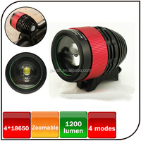 2014 hot sale CREE XML-T6 led 8.4V 6600mAh battery 1200 lumen zoom rechargeable led bike light