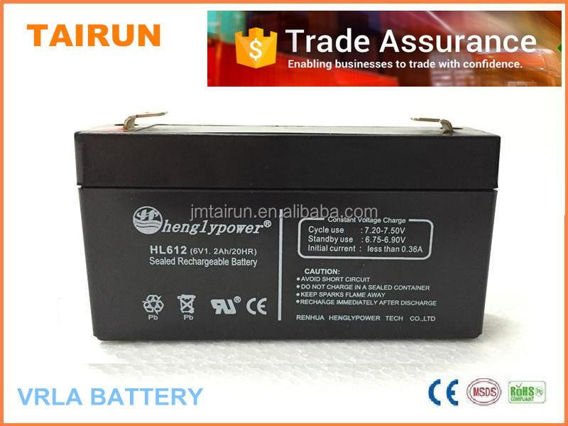 China best quality dry batteries ups 6V1.2ah for solar systems