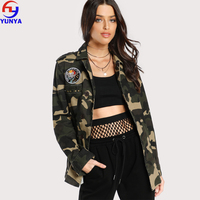 2018 bulk buy from china autumn army green embroidery patch camo military utility women jacket