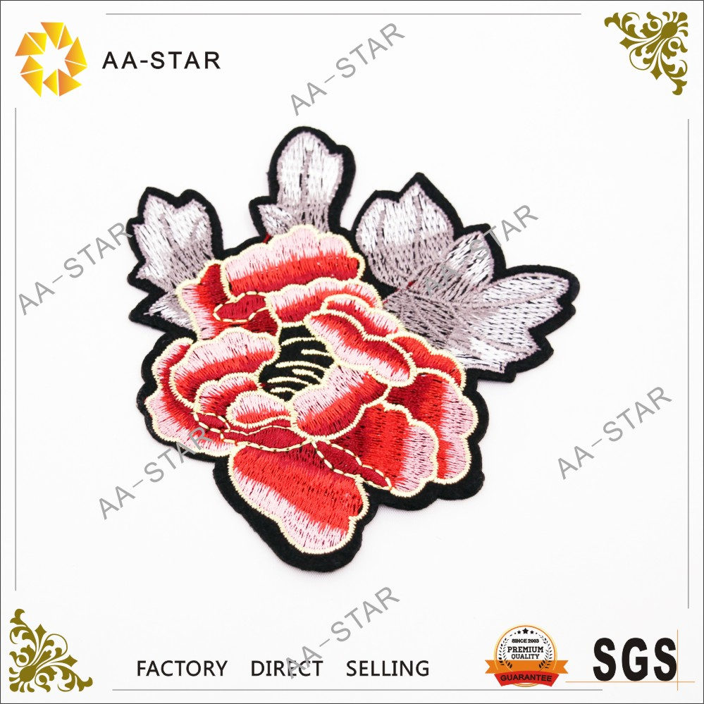 Peony flower appliques iron on jeans embroidery designs