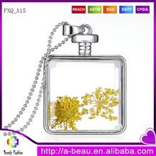 Dried Yellow Flower Necklace <strong>Silver</strong> Round Creative Necklace Wholesale FXQ_A15