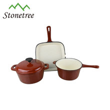 Colored Enamel Cooking Pot Set/ Cast Iron Cookware/Kitchenware for sale