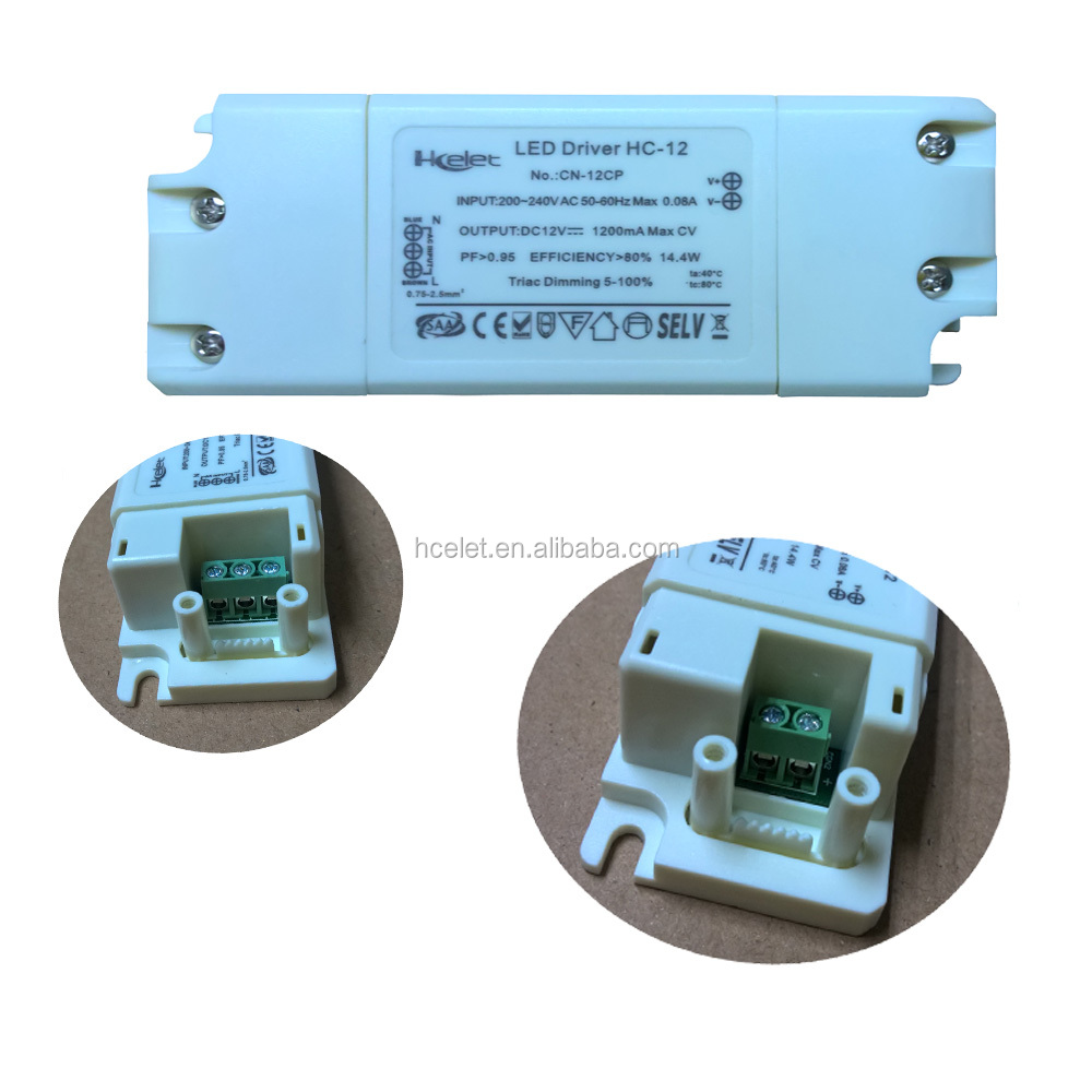 12V 10W Power Supply Driver TRIAC Dimmable Transformer for LED Flexible Strip Light (Works with Standard Wall Dimmers)
