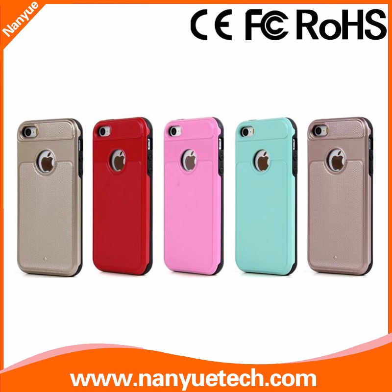 Colorful 2 in 1 Plastic Silicone Hybrid Back Cover Mobile Phone Case for iPhone 5 5S
