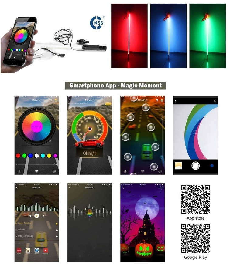 1.5m 5ft Smart phone APP control 16million color 18W for atv offroad RGB led whip light