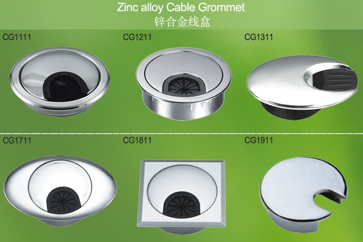 150mm Aluminium office desk cable grommet, desk line box