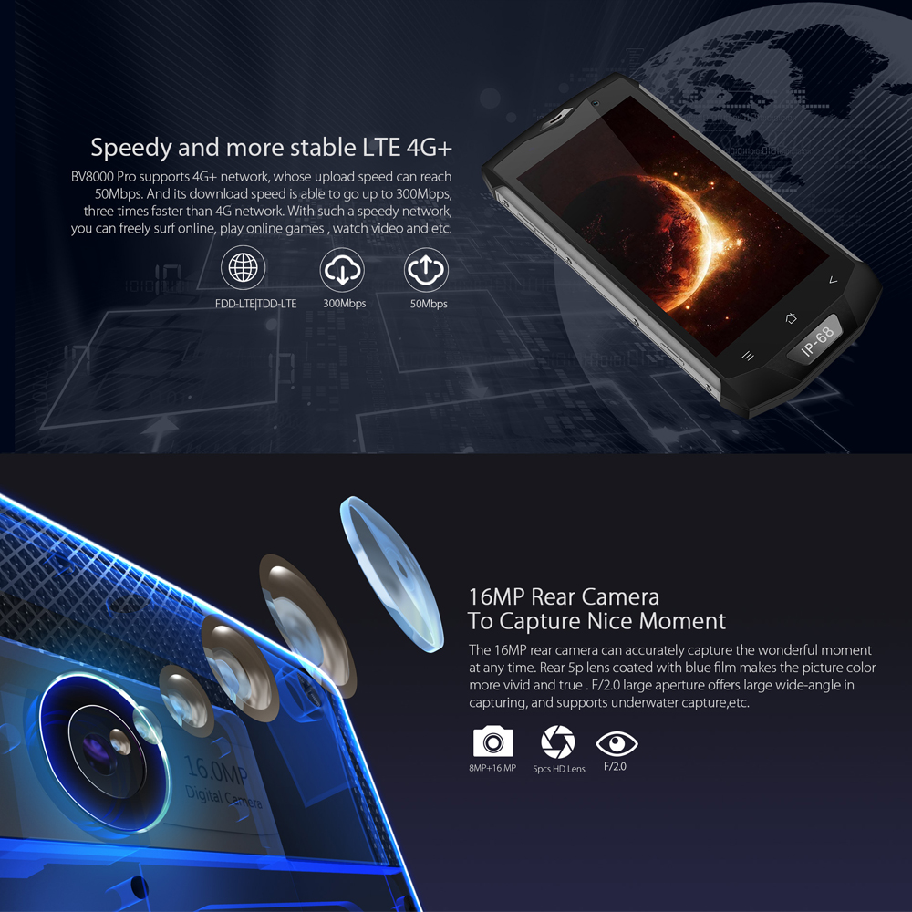 Wholesale blackview BV8000pro NFC IP68 Waterproof MTK6757V Octa Core Android 7.0 6GB+64GB 16MP Fingerprint Mobile phone