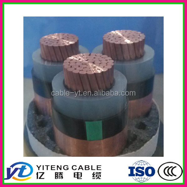 PVC sheathed power cables 26- 35 kv cooper conductor XLPE insulated with copper screen