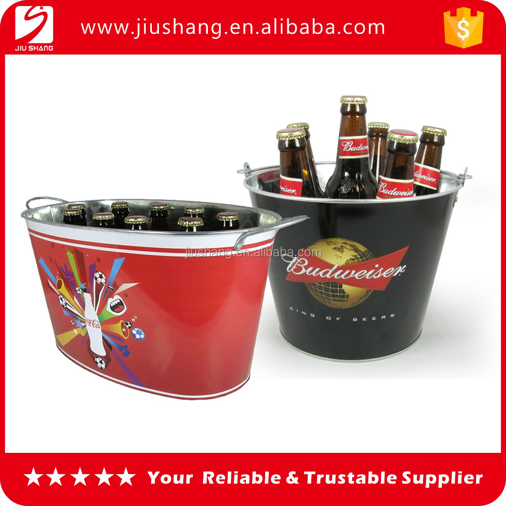 Wholesale oval shape stainless steel metal ice bucket with custom logo for sale