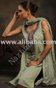 Green cotton pakistani dresses designer clothes