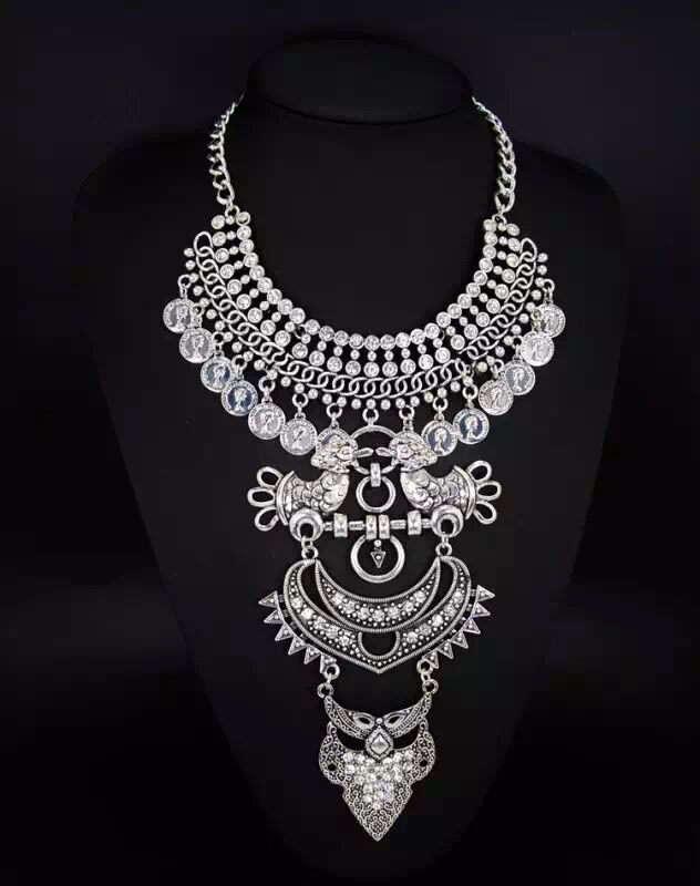 Turkish Indian alloy Boho Diamonds crystal Necklace chunky coin statement chain necklace choker
