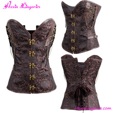 No MOQ Brown Overbust Steampunk Sexy Mature Corset