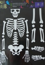 Skeleton Peel and Stick Glow in Dark Wall Sticker