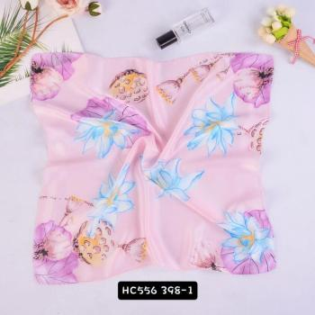 small square printed silk feeling summer fashion neck scarf for women