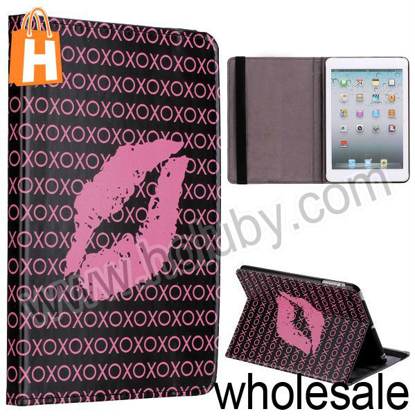 Sexy Lip+Letters Pattern Stand Folio Cover Leather Case for iPad Mini/Retina iPad Mini with Elastic Strap