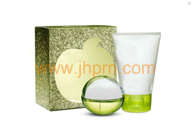 Green apple print natural plant face care cream set gift paper packaging box