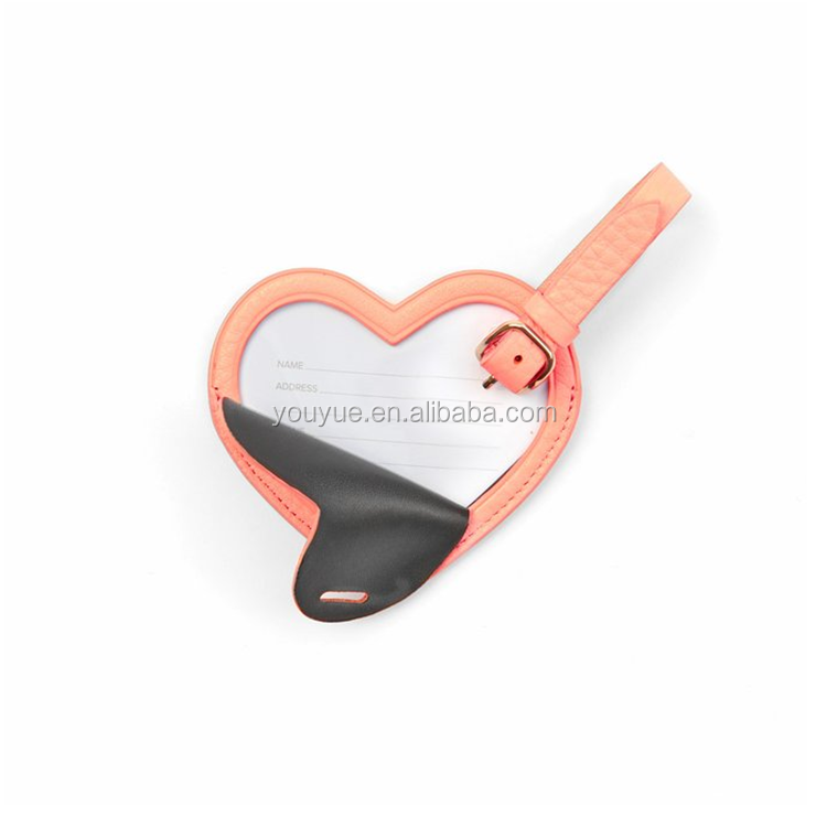 Heart Shaped Personalized Leather Wedding Favor Luggage Tag