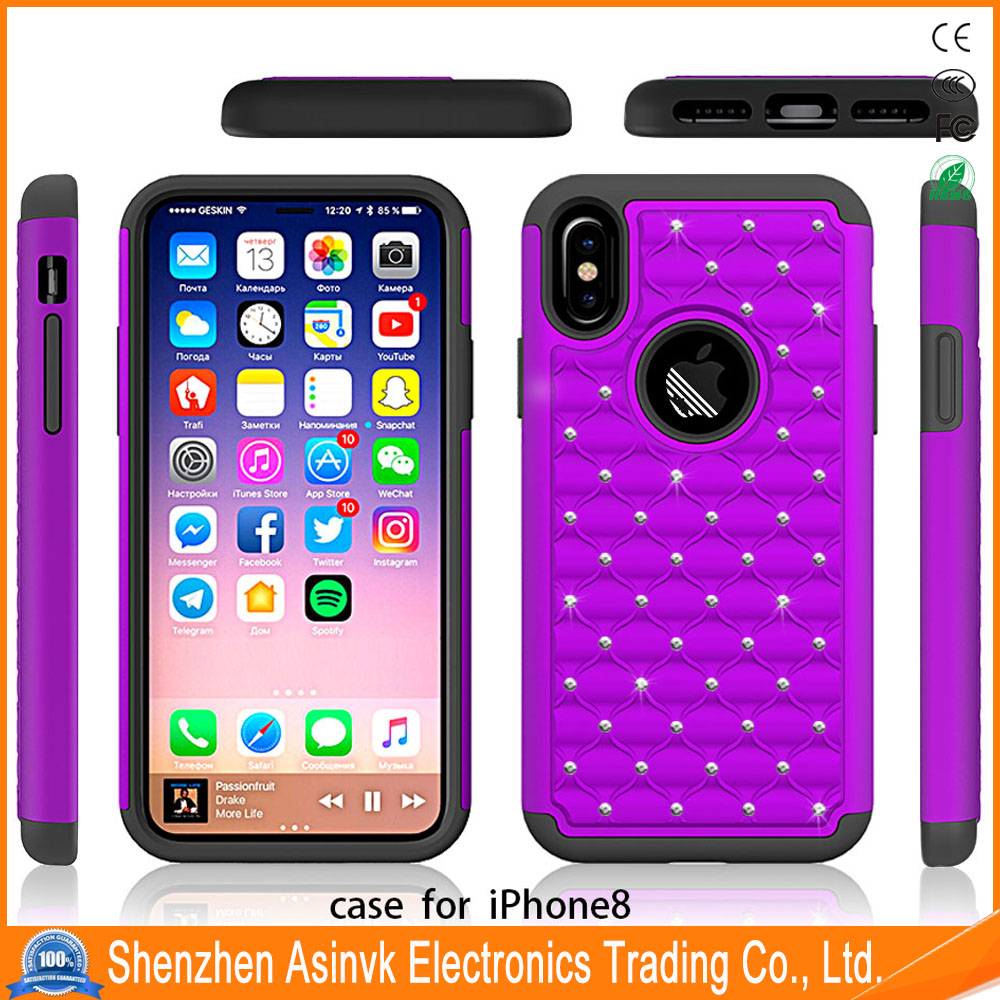 Dual Layer Crystal Bling Studded Rhinestone Hybrid Defender Armor Protective Case Cover for iPhone 8