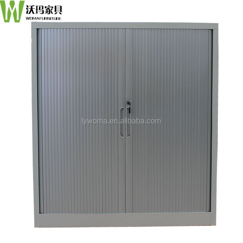 Best quality grey shutter style doors metal aluminum tambour sliding door filing storage cabinet