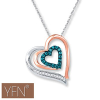 Valentine's Day Gifts Women's Crystal Dual Heart Shape Pendant Necklace