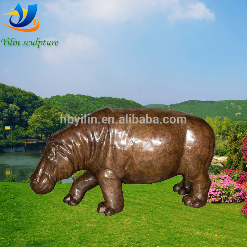 2016 popular large hippo statue New York with low price