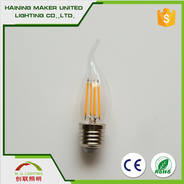 Decorative Christmas lights, vintage light bulb C35 high quality high lumen led filament light bulb for holiday