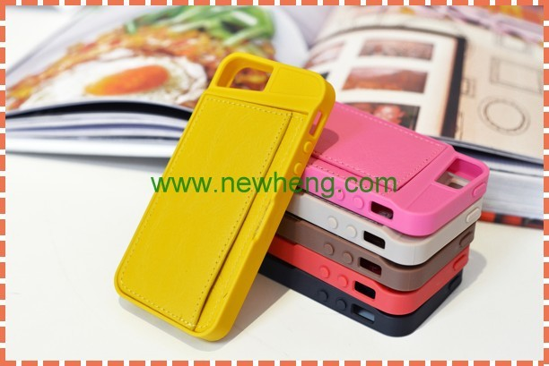 Genuine PU Leather Back Cover Case & Card holder for iphone 5