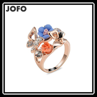 2015 Unique Design Beautiful Resin And Crystal Butterfly With Flower Gold Thin Circle Finger Rings For Women