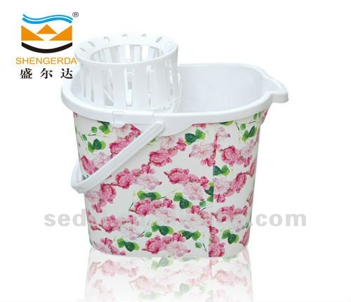 Mop bucket with colourfull printing,plastic bucket