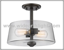 UL CUL Listed Kitchen Ceiling Light With Round Clear Glass Shade And Edison Bulbs C50394