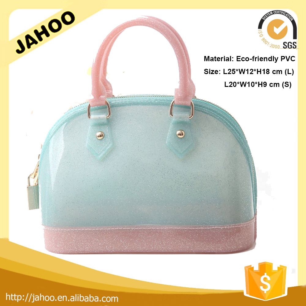 New Fashion Style PVC Jelly Tote Bag Candy Handbag,PVC Jelly Glitter Clutch Bag,Pink Jelly Bag