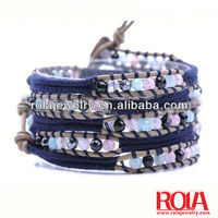 Diamond detector facted plating gold crystal chain bracelet