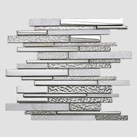 MBW4003 Silver Electroplated Glass Mosaic and White Marble Tile Decorative Material