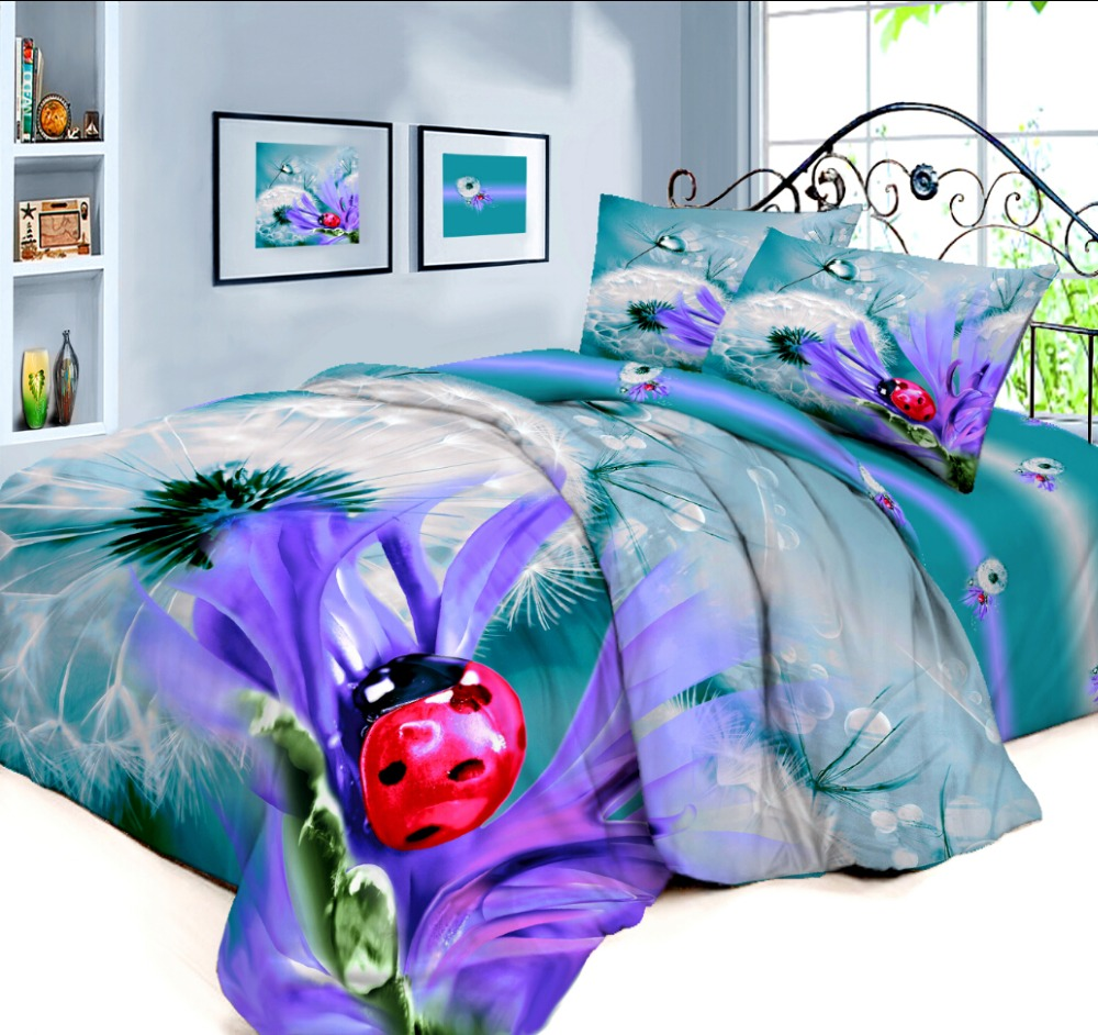 3D Panel printing 100% cotton dandelion duvet cover set